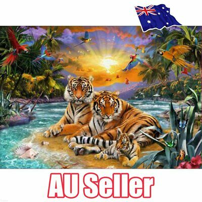 Tiger Family Full Drill 5D Diamond Embroidery Painting Cross Stitch Kit EA