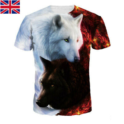 Tai Chi Wolf 3D Printed Womens Mens Casual T-Shirt Short Sleeve Graphic Tee Tops