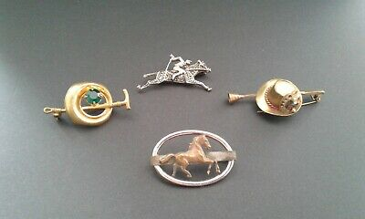 Wholesale lot horse riding jockey hunter brooch brass silver vintage pin rifle