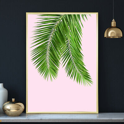 Palm Leaves Tropical Botanical Pink Painting Fine Art Print Poster A4 A3 A2 A1