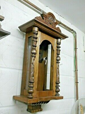 Good Small Proportioned Vienna Wall Clock Case Only, In Walnut Finish +
