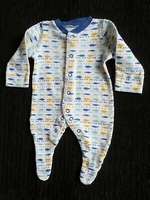 Baby clothes UNISEX BOY GIRL premature/tiny<7lbs/3.1kg fish teal,gold babygrow
