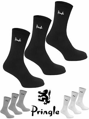 Mens Pringle Fully Cushioned 3 Pack Sport Socks P2050