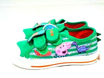 Boys New George Peppa Pig Canvas Pumps Trainers Touch Fastening Shoes Size 5-10