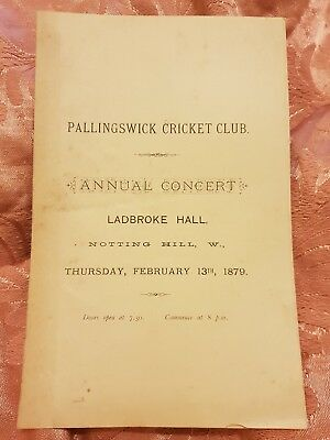 1879 Pallingswick Cricket Club Annual Concert Programme