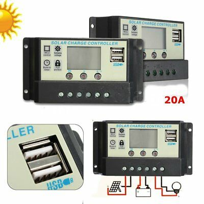 20A MPPT Solar Panel Battery Regulator Charge Controller 12/24V Auto PWM USB  @Q