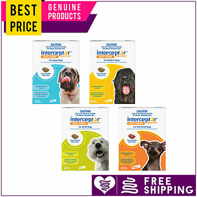 Interceptor Spectrum for Dogs 3 Doses All Sizes Heartworm Control by Novartis