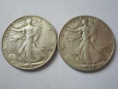 Liberty Walking Silver Half Dollars 2 coins 1941 D 1942 D