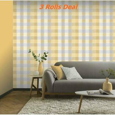3 Arthouse Country Check Tartan Plaid Ochre Grey Mustard Yellow Wallpaper 902807
