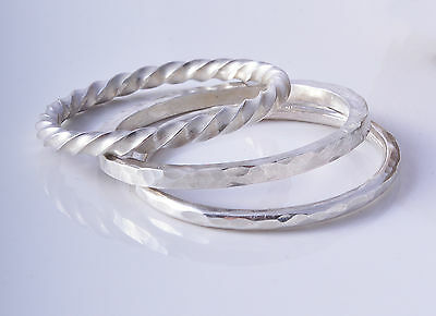 Three Sterling Silver 925 Mixed Set Of Stacking Rings ~ Choose Size