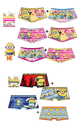 Boys & Girls 2 Pack Trunk Minions Boxer Short Brief Underwear Age 2-8 Years