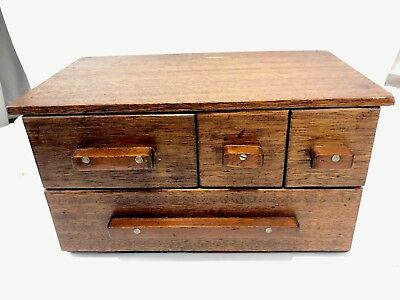 Antique Vintage multi Drawer Primitive Apothecary Tramp Folk Art Wooden Wood