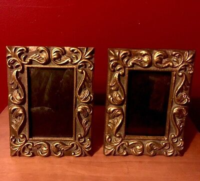 Cast Iron 4x8 Picture Frames Victorian Gold Gilt Pair (2) Ornate Antique Style