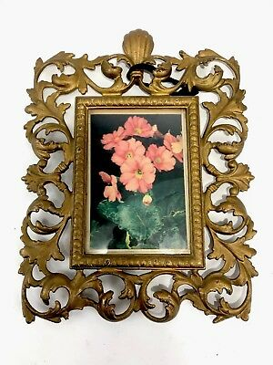 French Victorian Antique Ornate Leaves Painting Gilt Brass Wall Picture Frame
