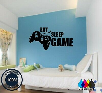Eat Sleep Game Vinyl Art Wall Sticker Boys Girls Bedroom Gaming Gamer Decals