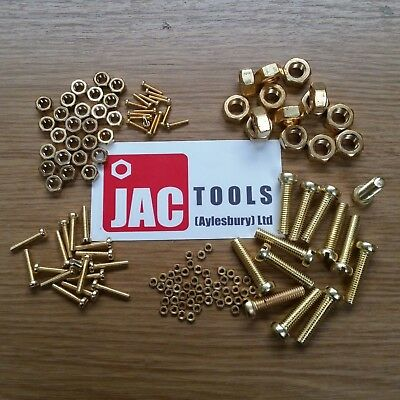 M2 Brass Cheese Slot Head Machine Screws Plus Full Nuts Din84 Various Lengths