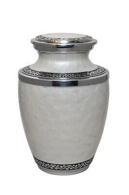 Large White Pearl and Silver Enamel Urn in Aluminium for Adult or Pet Dog Ashes