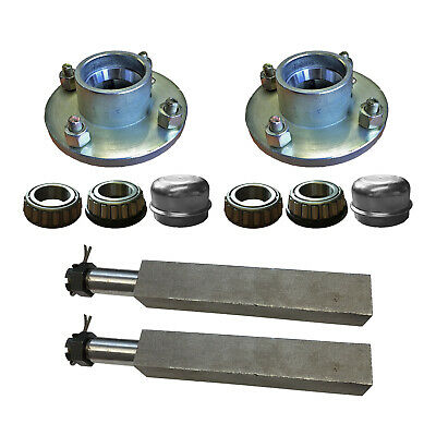 Trailer Axle Set 2 x Taper Hubs 4 inch PCD Mini Hub 2 x Square Stub Axles
