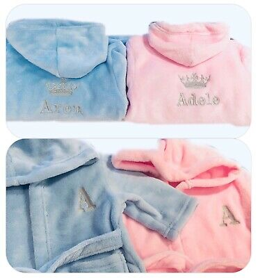 Baby Dressing Gown Bath Robe Towel Personalised Name Christening Christmas Gift
