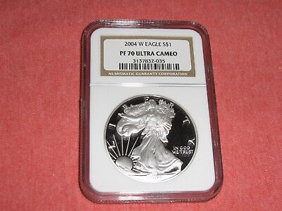2004-W $1 American Silver Eagle Proof 1 Oz NGC PF70 Ultra Cameo