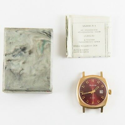 Antique Vintage Russian Ussr Wristwatch Slava Date Red Dial 1980