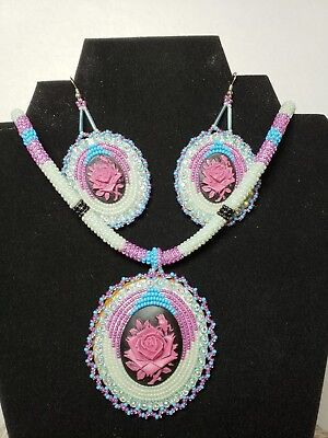 Native American beaded Necklace earring set purple Rose on black luster Cameo