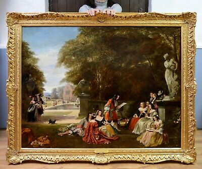 V Large Fine 19thC Royal Academy Oil Painting King Charles Royal Garden Party