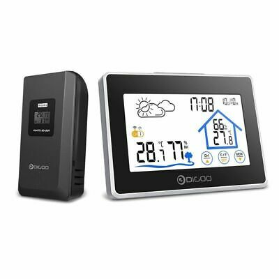 Wireless Thermometer Hygrometer Touch Screen Weather Station Outdoor Clock
