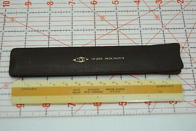 WOW  Vtg ALVIN Co Scale Nr. 268 GERMANY Drafting Ruler W/LEATHER CASE BOXWOOD