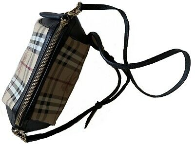 abbb3848a1a8 BURBERRY WOMEN CANVAS Check BlackBrown Leather Shoulder Bag Cross-body Mini  -  460.00
