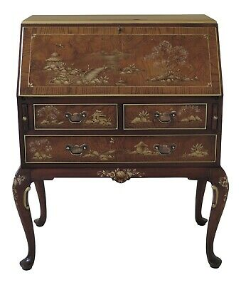 F46938EC: HEKMAN Chinoiserie Decorated Slant Front Walnut & Mahogany Desk