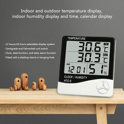 Weather Station Clock Thermometer Hygrometer Temperature Humidity Indoor Outdoor