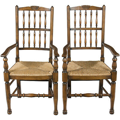 New Antique Style Country Pair of Spindle Back Dining Room Kitchen Arm Chairs