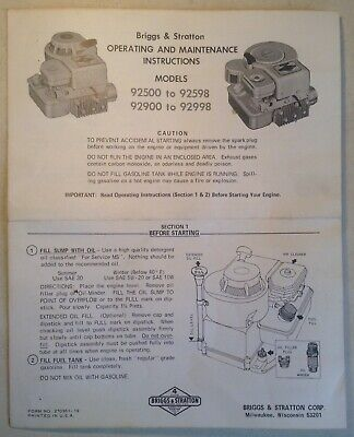 Vintage Briggs & Stratton Operating Maintenance Instructions Models 92500-92598