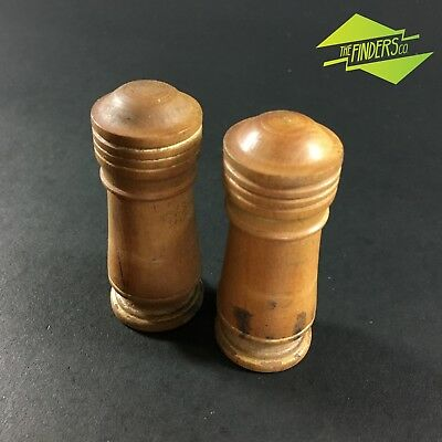 BEAUTIFUL c.1900 VINTAGE BOXWOOD TURNED TREEN CANISTERS SNUFF SPICE JARS WOODEN