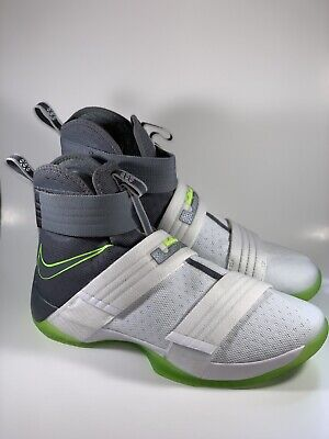 hot sale online aa3c9 7f7cb New Men s Nike Lebron Soldier 10 SFG Size 10.5 Neon Green Grey White  844378-103