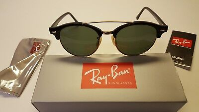 798436facb0 Ray-Ban Clubround Double Bridge Sunglasses RB4346 Black Frame G-15 Lens 51mm