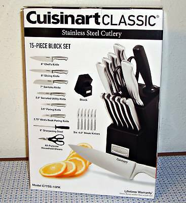 New Cuisinart Classic C77Ss-15Pk 15-Piece Stainless Steel Knife Block Set