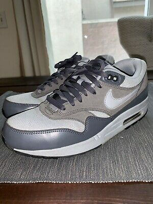 new style b1ef8 d1ae3 Nike Air Max 1 Essential 537383-019 Wolf Grey Dark Grey Leather Men s Sz 9.5