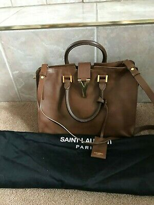 8dffb0200e72 Authentic  1700 Yves Saint Laurent YSL BROWN Leather Cabas Y Tote Bag~WOW