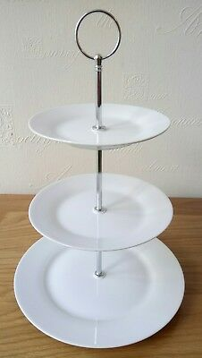 20 x classic white ceramic 3 tier layer cake stands ~ afternoon tea / wedding