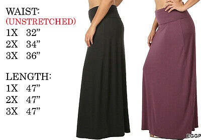 776f69ffa4c46 Plus Size Womens Solid Foldover High Waist Flared Waist Knit Long Maxi Skirt