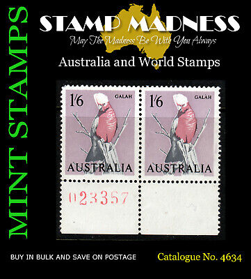 AUSTRALIA PRE-DECIMAL Galah 1/6 Imprint Numbered Pair 1964 MNH Bulk Estate