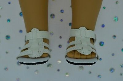 """Dolls Shoes For 17""""Baby Born~18""""American Girl WHITE SANDALS"""