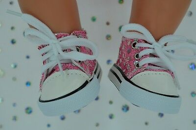 """Dolls Shoes For 17""""Baby Born~18""""American Girl PINK SEQUIN RUNNERS"""