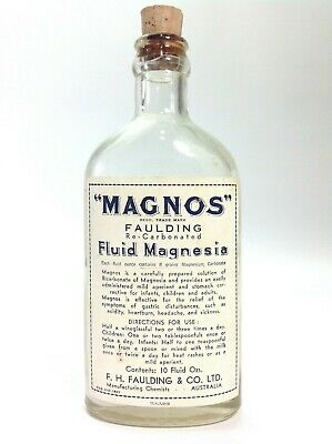 "Vintage Medical Faulding ""MAGNOS"" Fluid Magnesia Bottle"