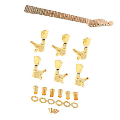 Guitar Neck 21 Frets Tiger Flame Maple E 3R3L Tuning Pegs Chitarra Locked