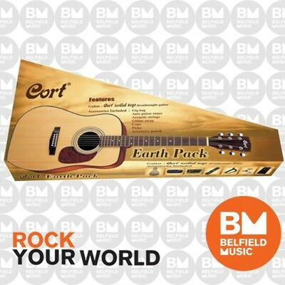 Cort Earth 70 Pack Acoustic Guitar Solid Top Dreadnought w/ Tuner Gig-Bag Picks