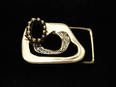 RB11171 NOS VINTAGE 1970s ABSTRACT ART SOLID BRASS BELT BUCKLE