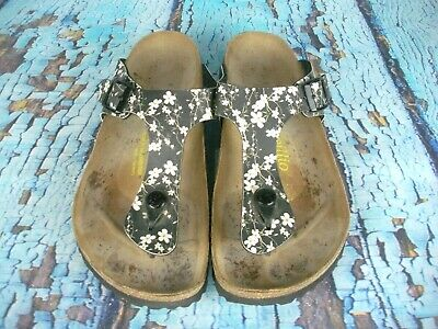 41ebffaa5c53 Papillio by Birkenstock Gizeh Black Floral Slide Thong Sandals Shoes Size 37    6